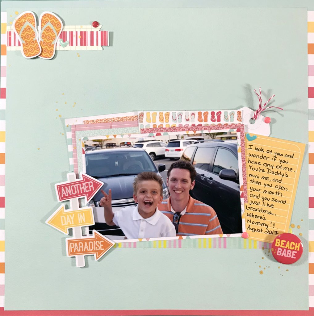 Family and Beach Scrapbook Layout www.thepaperaddict.com