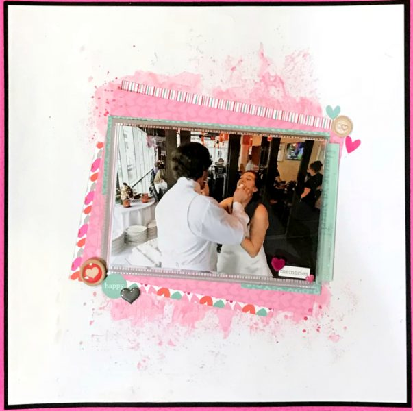 Wedding scrapbook layout featuring Doodlebug and mixed media