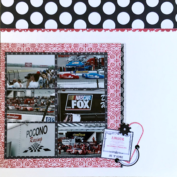 I often have trouble creating pages that have a theme when there are no supplies geared towards that topic. Here I created a double page 12x12 masculine scrapbook layout using supplies meant for Valentine's Day.