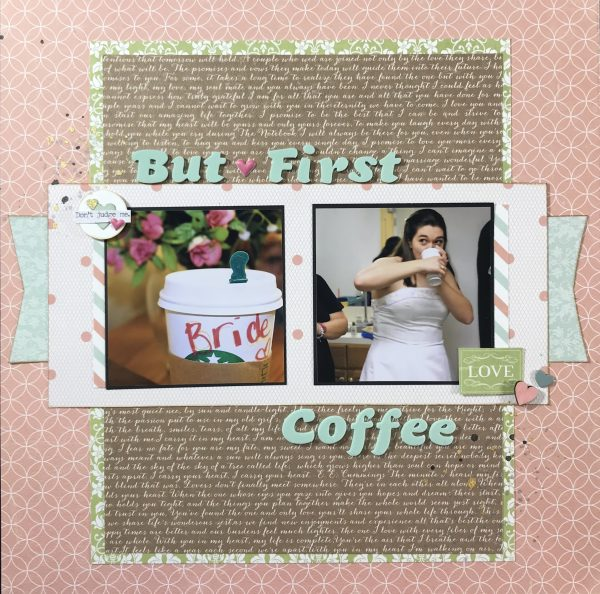 Coming up with ideas for wedding layouts can get repetitive. This bride focused wedding scrapbook layout has both style and bit of fun. It is also easily re-created with minimal supplies.