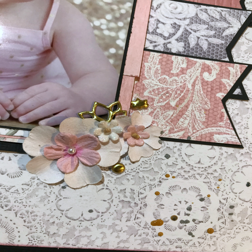 one year old baby girl scrapbook layout