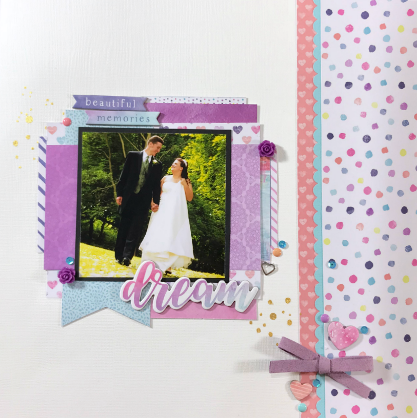 purple wedding scrapbook layout