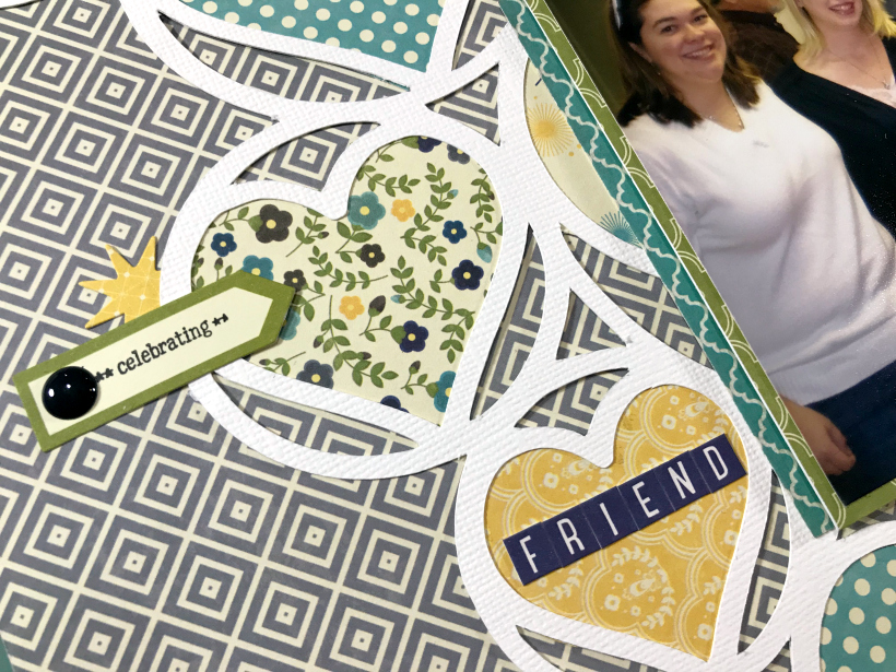 This friendship scrapbook layout using a cut file gives you ideas on how to use your old stash in a new way while making a stiking project.