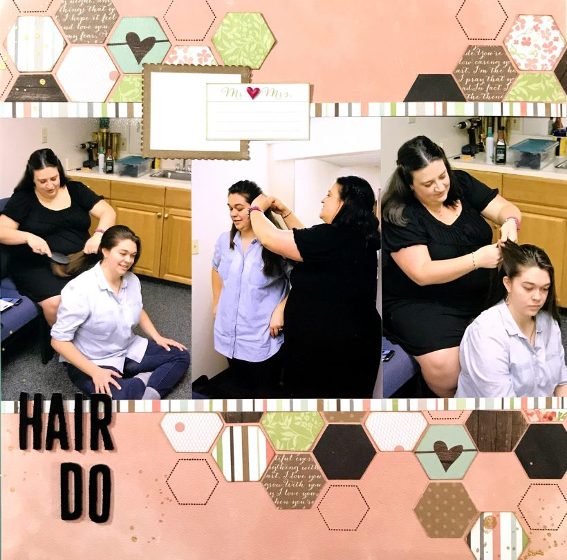 wedding hairdo scrapbook layout