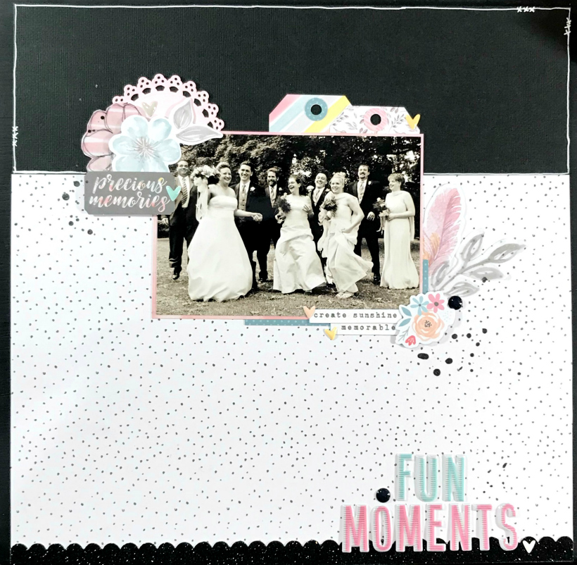 Wedding photos are very overwhleming to scrap. This wedding party scrapbook layout can be completed in 1 hour and has just the right amount of embellishment