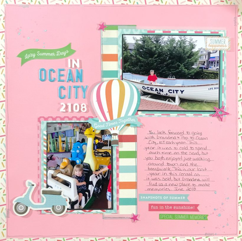 Use a grid design to create a kids beach scrapbook layout. Grid designs make for a quick and easy way to use scraps and get your photos done.
