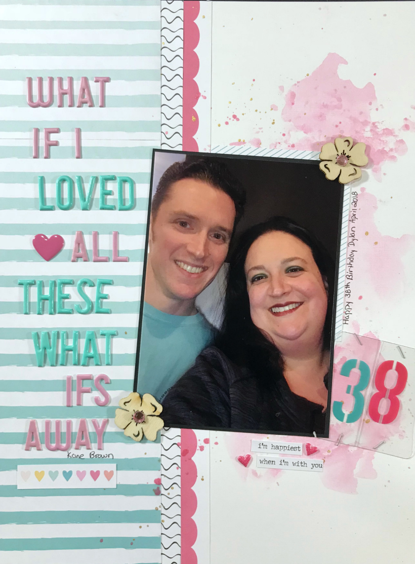 This long title scrapbook layout was created for my husband's 38th birthday using 8.5 x 11 size rather than you standard 12x12.