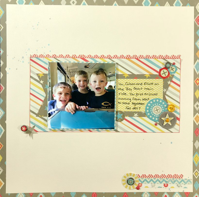 Need boy scrapbook page layout ideas? Look no further than this clean and simple boy scrapbook page that can be completed in under an hour.