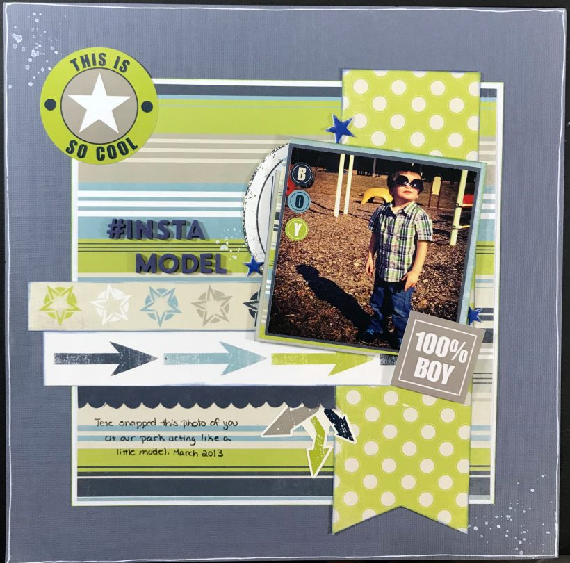 Use striped paper to create a toddler boy scrapbook layout that with a few embellishment tweaks could work for a male of any age.