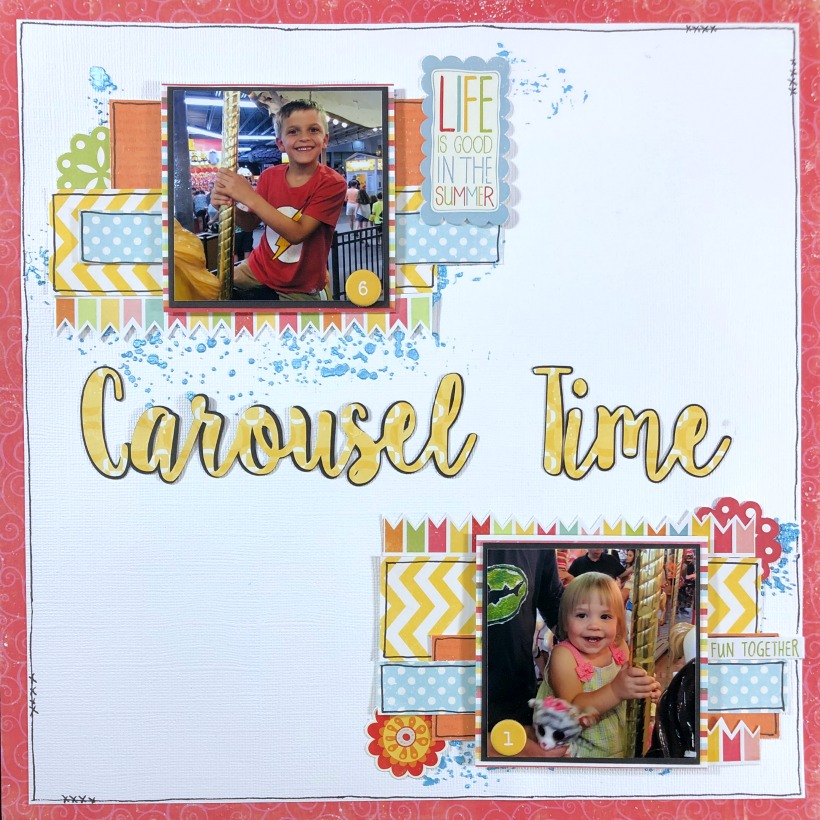 Use mixed media and paper scraps to create a carousel scrapbook layout. Concept could be applied to any theme easily by just changing the colors and title.