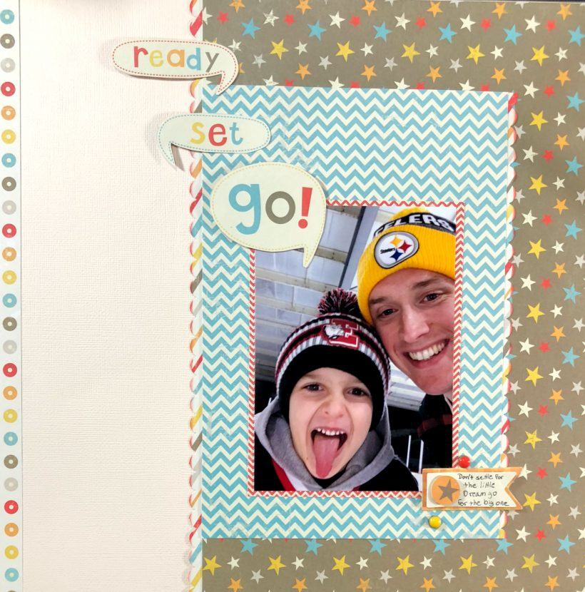 Come create a father son simple scrapbook layout with me. Layout can be created in less than 30 minutes using whatever papers you have on hand.