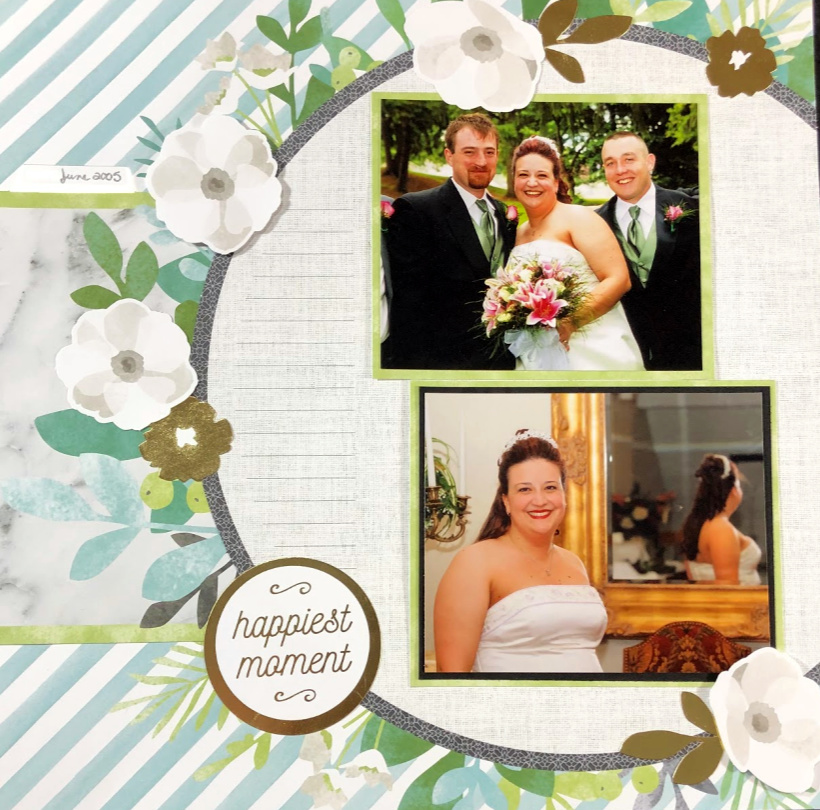 Come find out how to use a kit to quickly make a double page wedding scrapbook layout. It can't get any faster than this!
