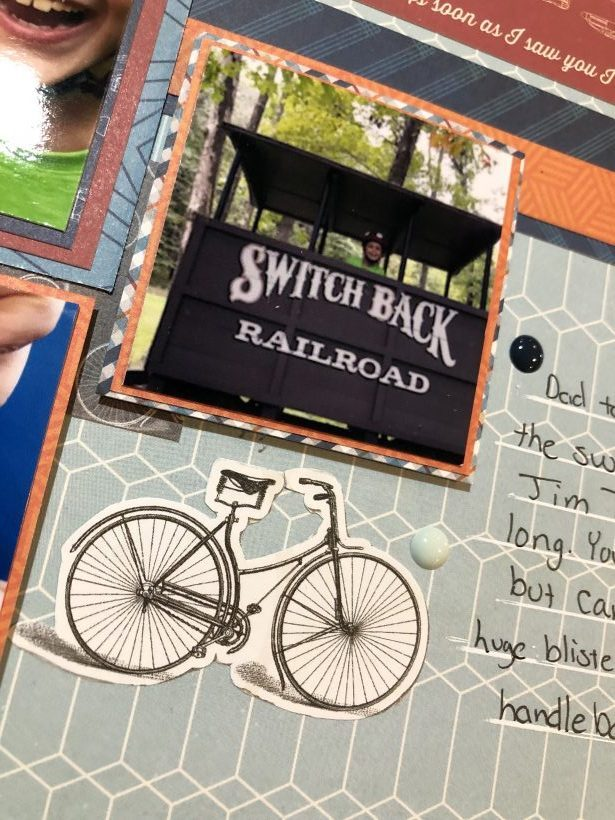 Create a visually interesting multi photo page with a father son bike trip scrapbook layout. Can be created with old or new products making it versatile