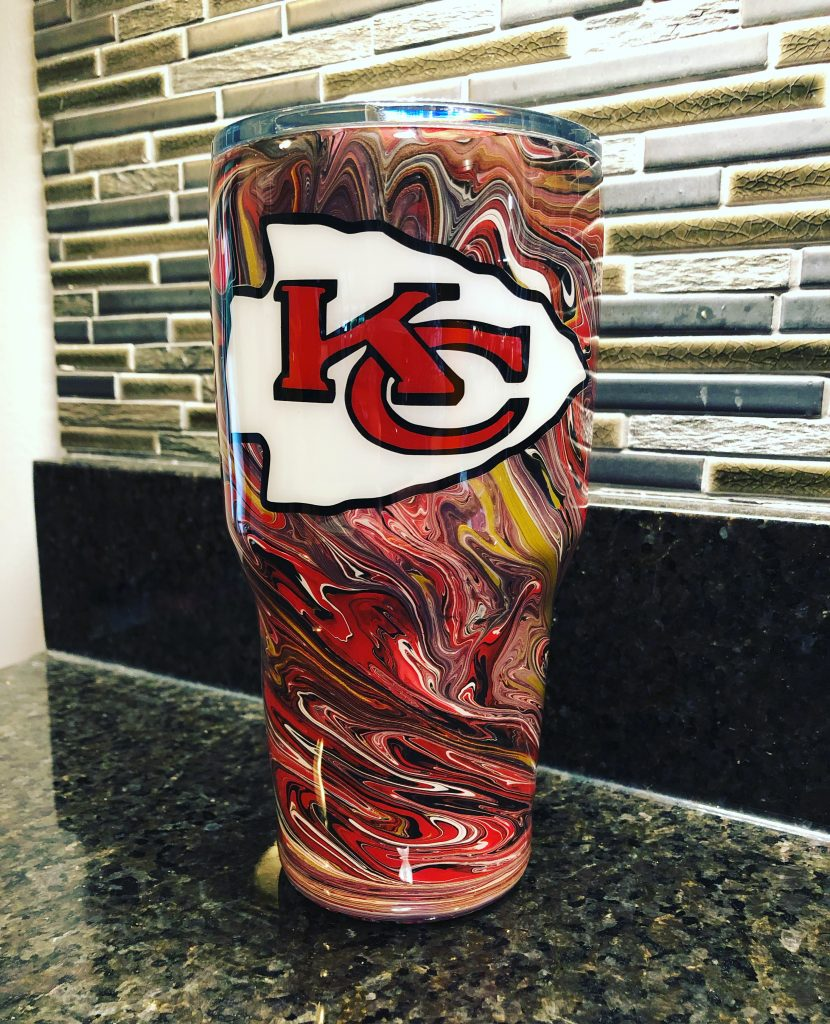 kansas city chief 30oz marble paint tumbler