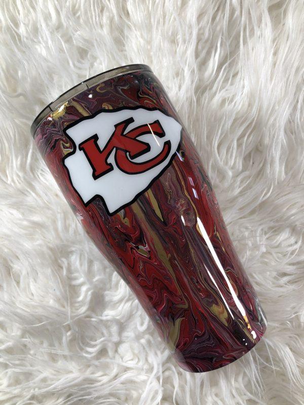 30oz Kansas City Chiefs Marble Paint Tumbler