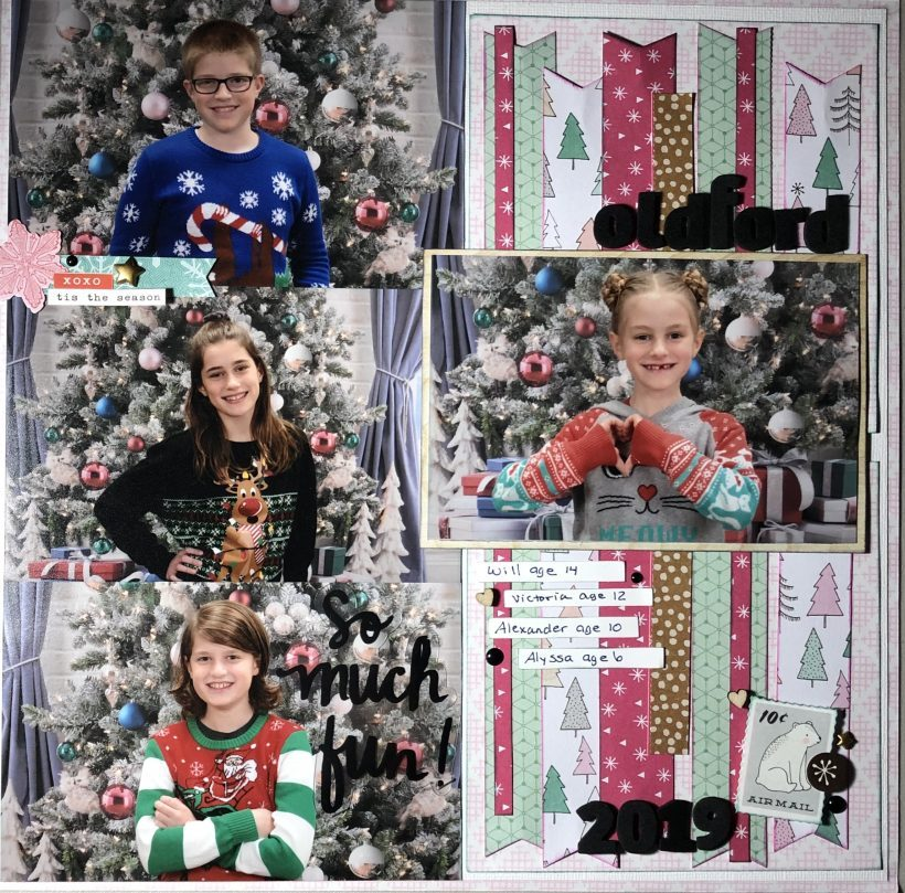 multi photo christmas scrapbook layout
