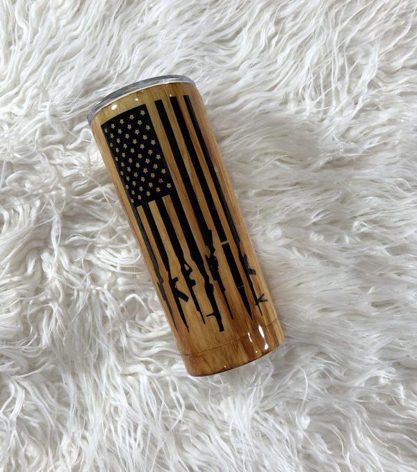 20oz woodgrain american flag tumbler