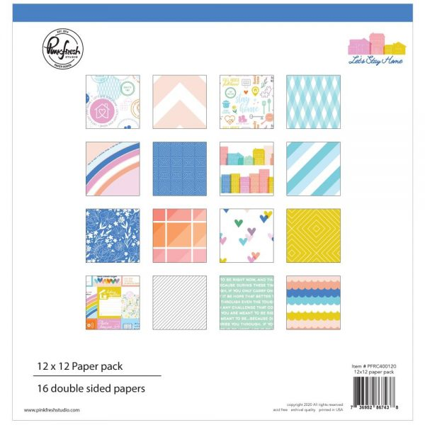 Pinkfresh Studio Let's Stay Home 12x12 Scrapbook Collection Kit