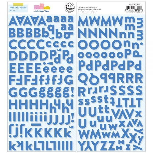 Pinkfresh Studio Let's Stay Home Large Blue Puffy Alphabet Stickers