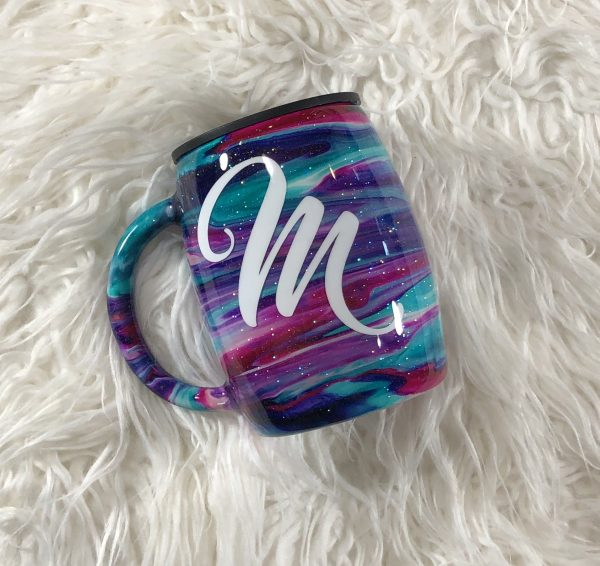 14oz Custom Ink Glitter Stainless Steel Coffee Mug