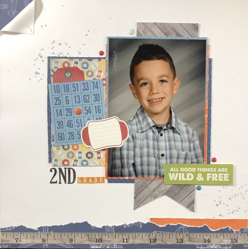school photo boy scrapbook layout