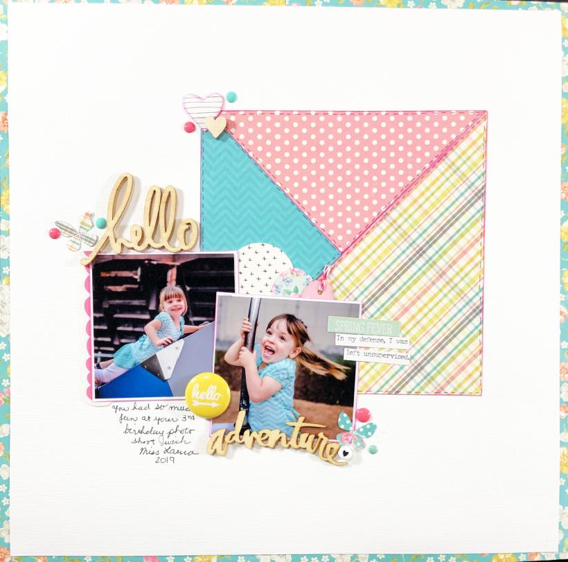 Hello Adventure Birthday Girls Scrapbook Layout