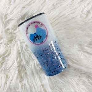 20oz Jack and Jill of America Blue and White Ombre Custom Tumbler