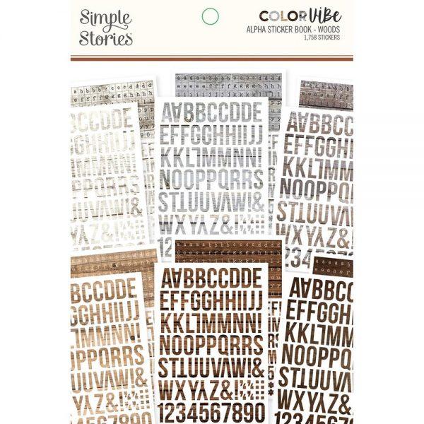 Simple Stories Color Vibe Alphabet Sticker Book - Wood Grain