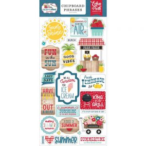 Echo Park Slice Of Summer Chipboard Phrases
