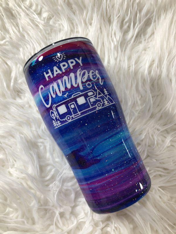 20oz Happy Camper Purple Custom Tumbler